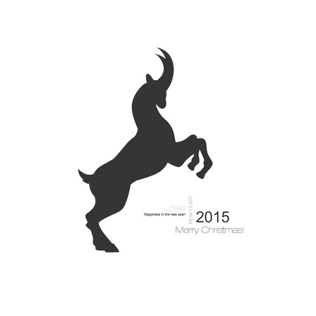 Vector horned goat symbol with a black profile silhouette of a goat for use as a design element for agriculture astrology or new year calendar and Chinese mythology Illustration