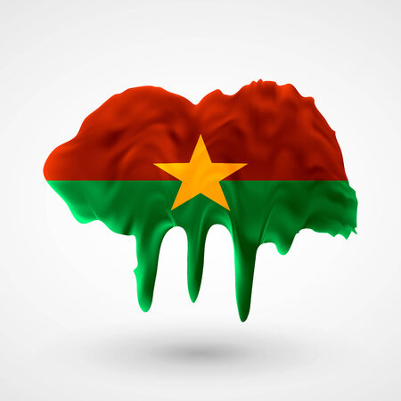 colors paint: Flag of Burkina Faso painted colors. Blot with paint streaks with the national colors. Independence Day.  Use for brochures, printed materials, icons, logos, signs,  elements, etc. Illustration