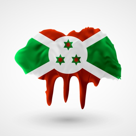 colors paint: Flag of Burundi painted colors. Blot with paint streaks with the national colors. Independence Day.