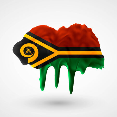 vanuatu: Flag of Vanuatu painted colors. Blot with paint streaks with the national colors. Independence Day.  Use for brochures, printed materials, icons, logos, signs,  elements, etc. Illustration