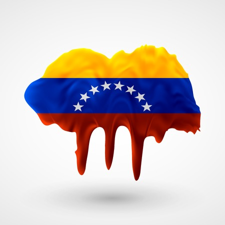 colors paint: Flag of Venezuela painted colors. Blot with paint streaks with the national colors. Independence Day.