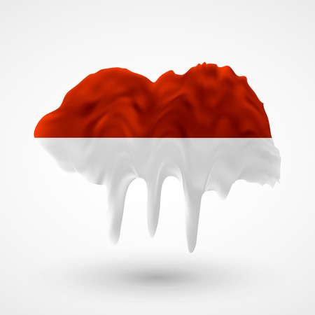 colors paint: Flag of Indonesia painted colors. Blot with paint streaks with the national colors. Independence Day.  Use for brochures, printed materials, icons, logos, signs,  elements, etc.