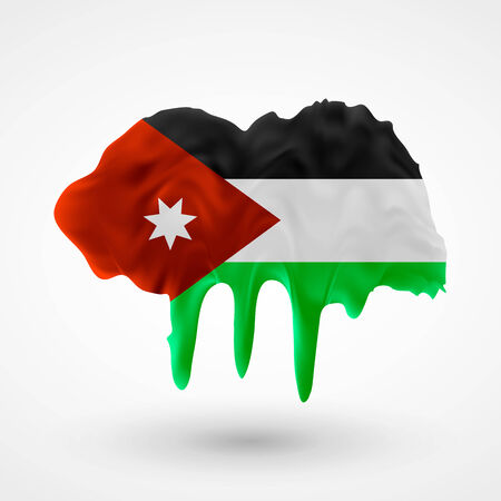 colors paint: Flag of Jordan painted colors. Blot with paint streaks with the national colors. Independence Day.  Use for brochures, printed materials, icons, signs,  elements, etc.