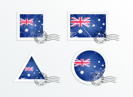 triangular flag: Stamps with the image of the flag. Mark in grungy style. Australian flag