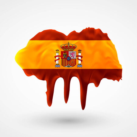 colors paint: Flag of Spain painted colors. Blot with paint streaks with the national colors. Independence Day.  Use for brochures, printed materials, icons, logos, signs,  elements, etc.