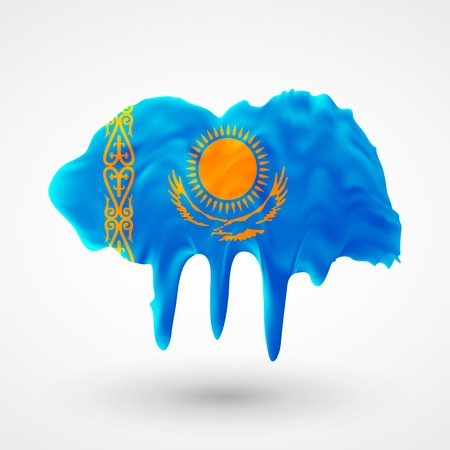 colors paint: Flag of Kazakhstan painted colors. Blot with paint streaks with the national colors. Independence Day.  Use for brochures, printed materials, icons, logos, signs,  elements, etc.