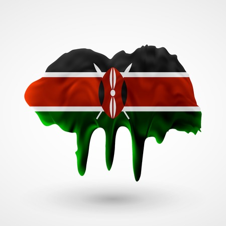 colors paint: Flag of Kenya painted colors. Blot with paint streaks with the national colors.