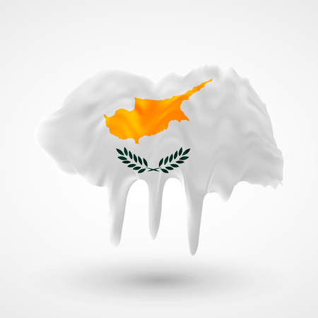 colors paint: Flag of Cyprus painted colors. Blot with paint streaks with the national colors. Independence Day.  Use for brochures, printed materials, icons, logos, signs,  elements, etc. Illustration