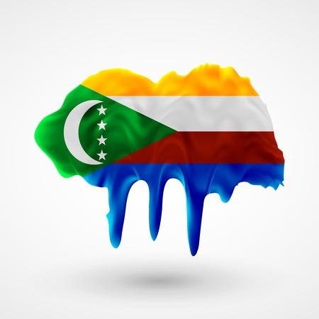 colors paint: Flag of Comoros painted colors. Blot with paint streaks