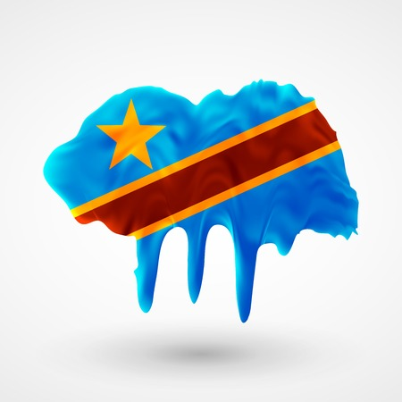 colors paint: Flag of Democratic Republic of Congo painted colors. Blot with paint streaks with the national colors. Independence Day.  Use for brochures, printed materials, icons, logos, signs,  elements, etc. Illustration