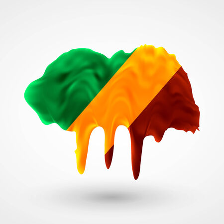 colors paint: Flag of the Republic of Congo painted colors. Blot with paint streaks with the national colors. Independence Day.