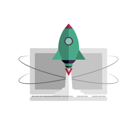provider: Internet start up new business project with rocket image, vector. Flat design. Quick internet provider. Quick work on the computer and on the Internet. Rocket takes off on the background of computer.