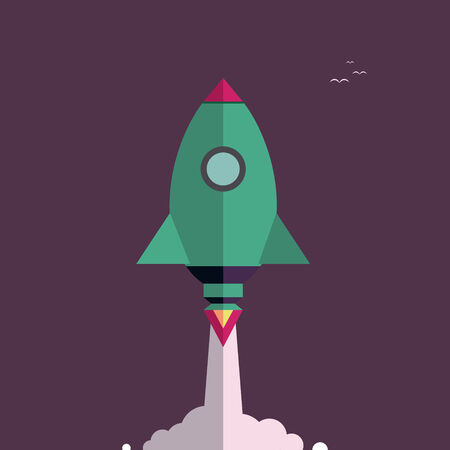 hurrying: Start up new business project with rocket and clouds image, vector illustration. Flat design. Speed. Rocket flying in the sky above the clouds. Night sky.