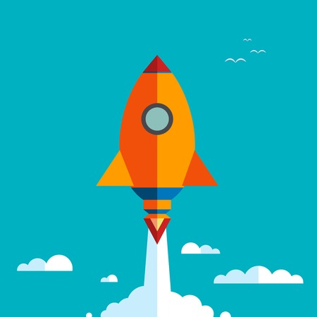 hurrying: Start up new business project with rocket and clouds image, vector illustration. Flat design. Speed. Rocket flying in the sky above the clouds. Blue sky with white clouds. Illustration