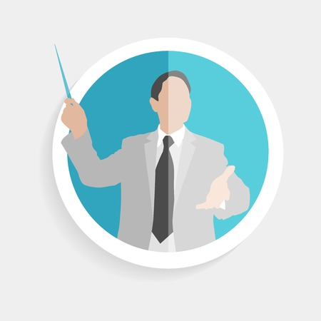 marktforschung: Vector Runde Symbol Silhouette erfolgreichen Mann Forscher mit Zeiger und offene Geste flache Design-Stil f�r die Unternehmen, Forschung, Lehre Schule oder Hochschule, Arbeit, Marktforschung, suchen richtigen Entscheidungen Illustration