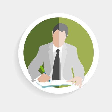 marktforschung: Vector Runde Symbol Silhouette erfolgreicher Mann in ein Notizbuch Schreibstift in einem flachen Design-Stil f�r Wirtschaft, Forschung, Unterricht in der Schule oder Hochschule, Arbeit, Marktforschung, die richtigen Entscheidungen zu finden,