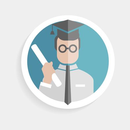 marktforschung: Vector Runde Papier-Symbol erfolgreicher Mann Forscher mit Grad, Doktorhut flache Design-Stil f�r die Unternehmen, Forschung, Lehre Schule oder Hochschule, Arbeit, Marktforschung, suchen richtigen Entscheidungen