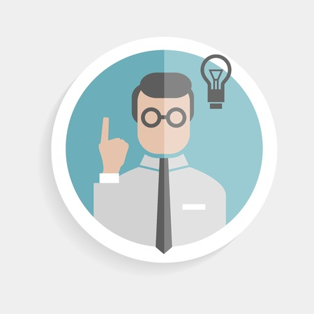 Vector round paper icon researcher successful man with thumbs up, lamp, idea in a flat design style for business, research, teaching in school or college, work, market research, search right decisions Illustration