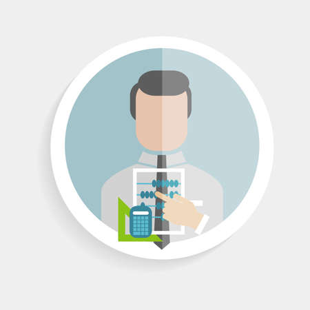 marktforschung: Vector Runde Papier-Symbol erfolgreicher Mann Forscher mit Konten Rechner, Lineal flache Design-Stil f�r Wirtschaft, Forschung, Unterricht in der Schule oder Hochschule, Arbeit, Marktforschung, suchen richtigen Entscheidungen
