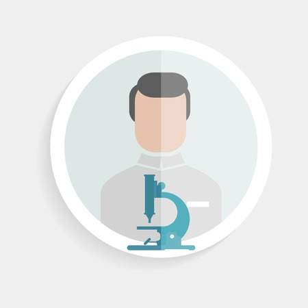 research study: Vector round paper icon successful man researcher with a microscope in a flat design style for business, research, teaching in school or college, work, market research, search for the right decisions