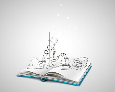 experimento: Abra el libro con una cubierta azul. Iconos de la ciencia doodles Laboratorio Químico. Una pila de libros. Educación, investigación, experimentos. El libro trata de la química.