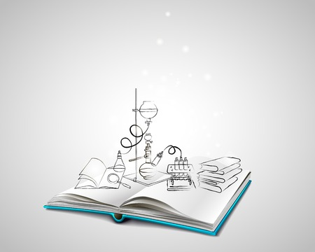 Open book with a blue cover. Science icons doodles Chemical Laboratory. A stack of books. Education, research, experiments. The book is about chemistry. Ilustração