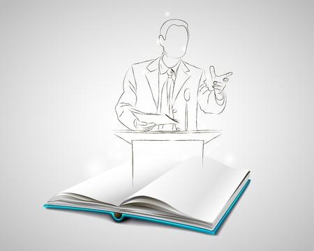 oratoria: Abra el libro con una cubierta azul. Vectores