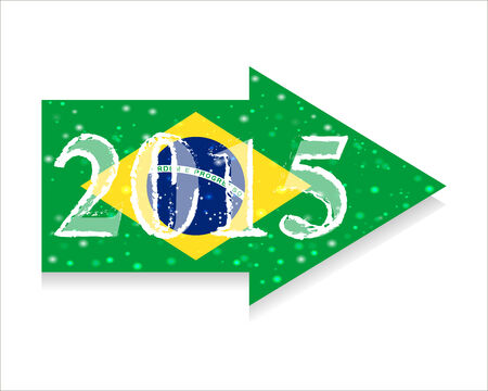 new direction: Direction 2015 New Year. Christmas. Infographics. Vector. Icon. flag of Brazil Illustration