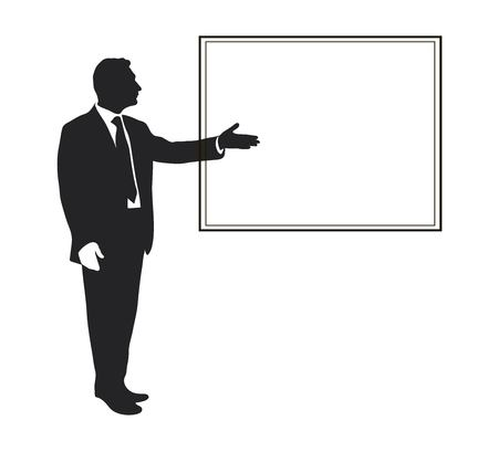 Manager shows Items objectives, text, priorities, important data. Presentation Seminar Training Leader. Infographics. Silhouette of a man. Pointing gesture. Vector. Icon. Black and white.