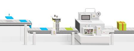 Inbetriebnahme eines neuen Produkts. Rohstoffe bewegen auf dem Förderband. Vector Infografiken Produktionsgeschäft zu einem flachen Stil und perspektivische Ansicht. Minimalistische klares Design. Illustration