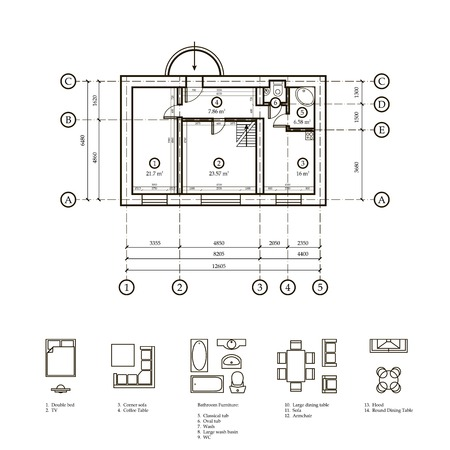 Plan of the apartment. Drawing plan apartments and drawing furniture for the apartment. Load-bearing walls and partitions with bindings. Stock Illustratie