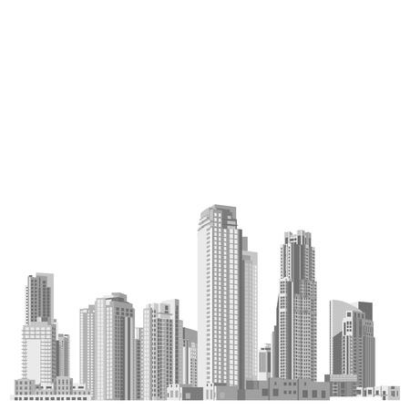 Set van vector wolkenkrabbers met diverse architectuur gevels. Architectuur wolkenkrabbers van een grote stad. Huizen en kantoorgebouwen in een grote stad.