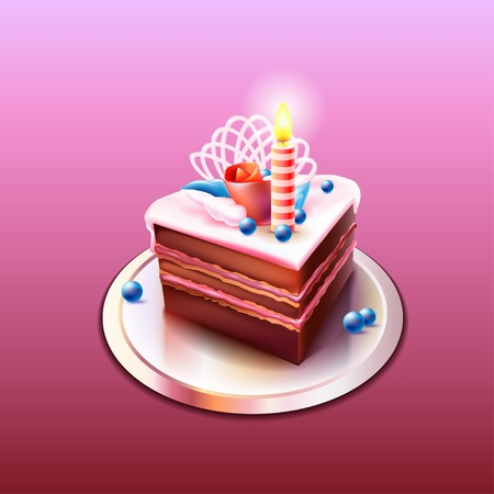 Delicious and a beautiful chocolate cake with a candle. Happy Birthday. Cake decorated with rose petals and blueberries. Vector. Vector