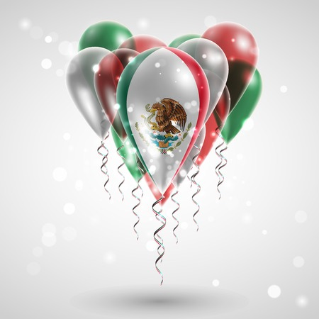 Flag of the country on balloon. Celebration and gifts. Ribbon in the colors of the flag are twisted under the balloon. Independence Day. Balloons on the feast of the national day. Flag of Mexico Illustration