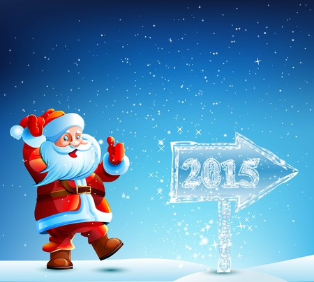 new direction: Santa Claus walks 2015 in the direction indicated by an icy pointer. New Year Christmas. Vector. Icon.