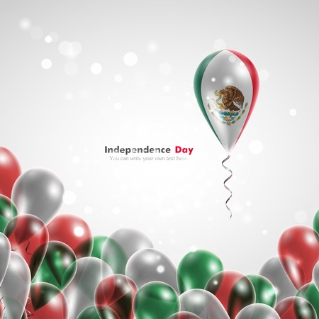 feast day: Flag of the country on balloon. Celebration and gifts. Ribbon in the colors of the flag are twisted under the balloon. Independence Day. Balloons on the feast of the national day. Flag of Mexico Illustration