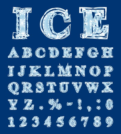 Alphabet made in the form of ice letters
