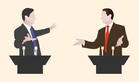 Debatte zwei Lautsprechern. Politische Reden, Debatten, Rhetorik. Breit und expressiven Gesten.