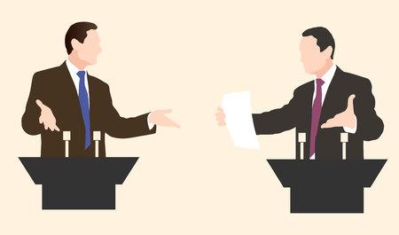 rhetorical: Debate two speakers. Political speeches, debates, rhetoric. Broad and expressive hand gestures.
