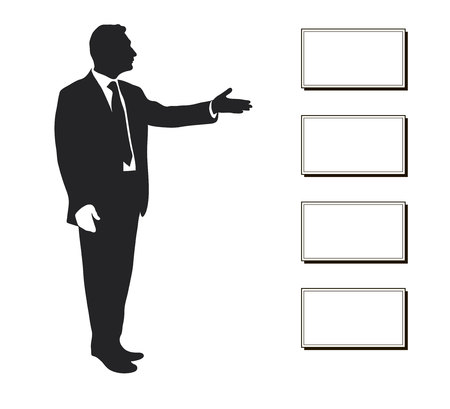 Manager shows: Items objectives, text, priorities, important data. Presentation. Seminar. Training. Leader. Infographics. Silhouette of a man. Pointing gesture. Vector Icon