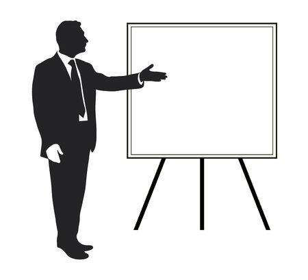 maestro: Gerente muestra objetivos Art�culos, textos, las prioridades, los datos importantes. Presentaci�n. Seminario. Entrenamiento. L�der. Infograf�a. Silueta de un hombre. Se�alar gesto. Vector. Icono. Blanco y negro.