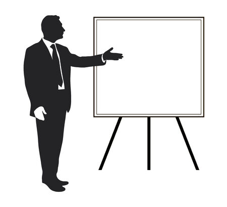 priorities: Manager shows Items objectives, text, priorities, important data. Presentation. Seminar. Training. Leader. Infographics. Silhouette of a man. Pointing gesture. Vector. Icon. Black and white. Illustration