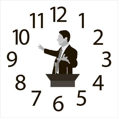 Spreker op de achtergrond van de uren wijzerplaat Vector Illustratie