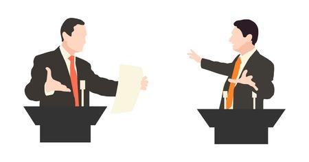 Debate two speakers. Political speeches, debates, rhetoric. Broad and expressive hand gestures.