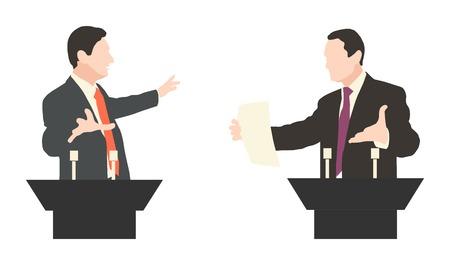 Debatte zwei Lautsprechern. Politische Reden, Debatten, Rhetorik. Breit und expressiven Gesten. Illustration