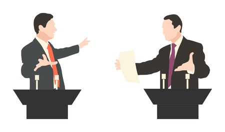 Debate two speakers. Political speeches, debates, rhetoric. Broad and expressive hand gestures.