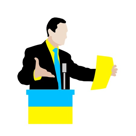hustings: Ukrainian speaker delivers a speech at the podium, using expressive gestures, holding a sheet of paper for presentation. Lectern with microphone and a flag of Ukraine. vector. Icon.