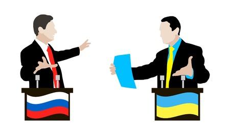 negotiations: El debate entre los ponentes de Ucrania y Rusia. El debate y la controversia entre las partes en conflicto. Ucrania. Rusia. Las negociaciones y la ret�rica. Bandera. Icono. Vectores