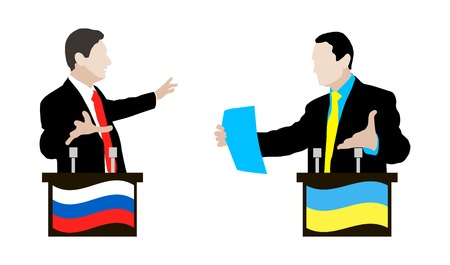 controversy: The debate between the Ukrainian and Russian speakers. Debate and controversy between conflicting parties. Ukraine. Russia.  Negotiations and rhetoric. Flag. Icon.