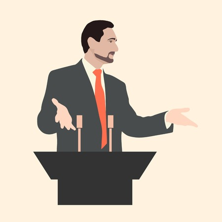 rhetorical: Orator stands behind a podium with microphones. Speaker makes a report to the public. Presentation and performance before an audience. Rhetoric. Oratory, lecturer, seminar. Vector. Icon. standard.